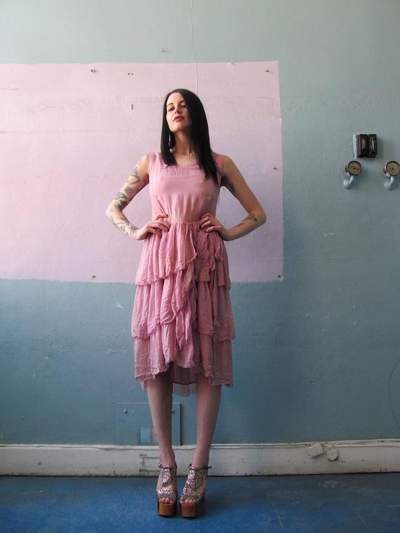 Vtg 20s 30s Lavender Ruffles Dress