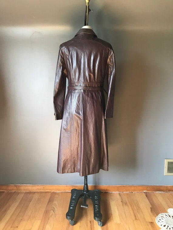 Vtg 70s Brown Leather Trench - image 4