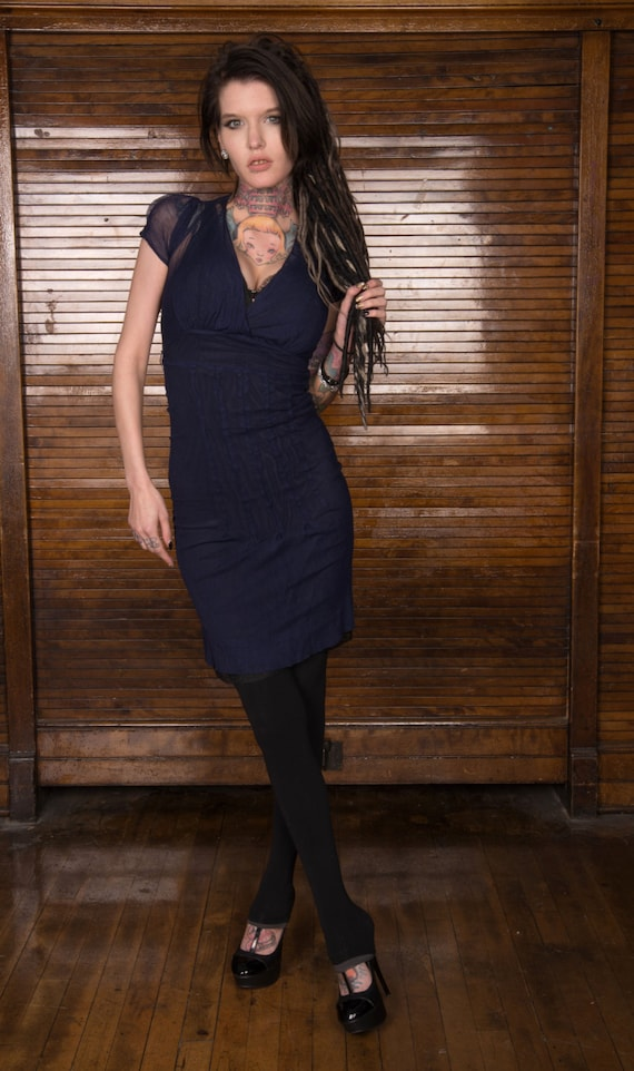 Vintage 30s 40s Navy Blue Sheer Net Slip Dress