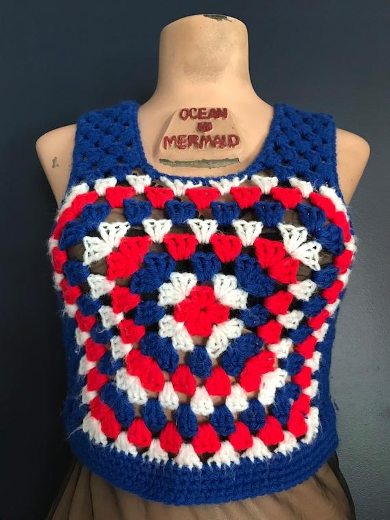 Vtg 70s Granny Square Sweater Top / Crop Vest
