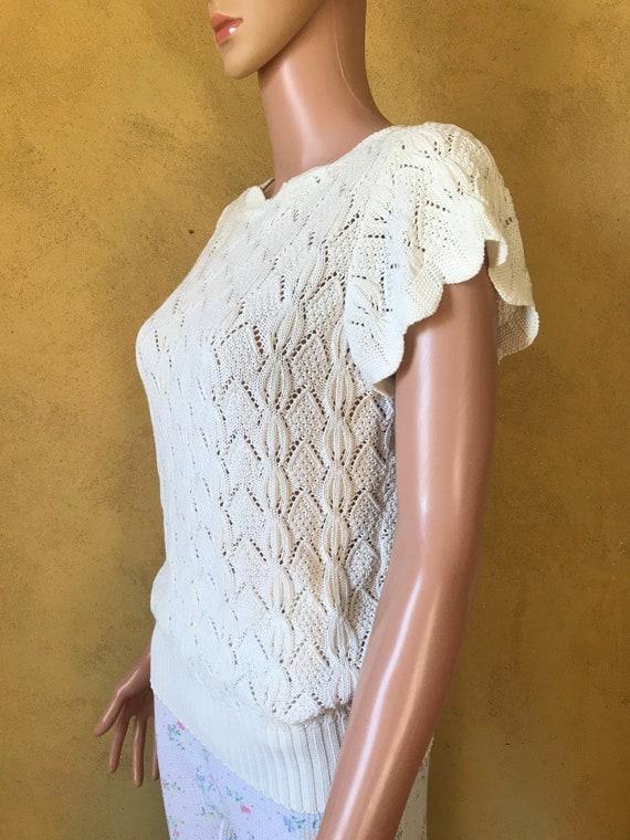 Vtg 70s 80s Sweet Sweater Knit Blouse - image 4