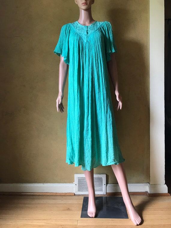 Vtg 70s 80s Gauze Dress - image 6