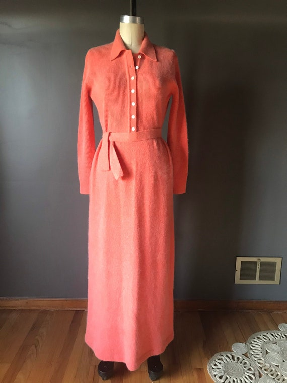 Vtg 70s Anne Fogarty Sweater Dress