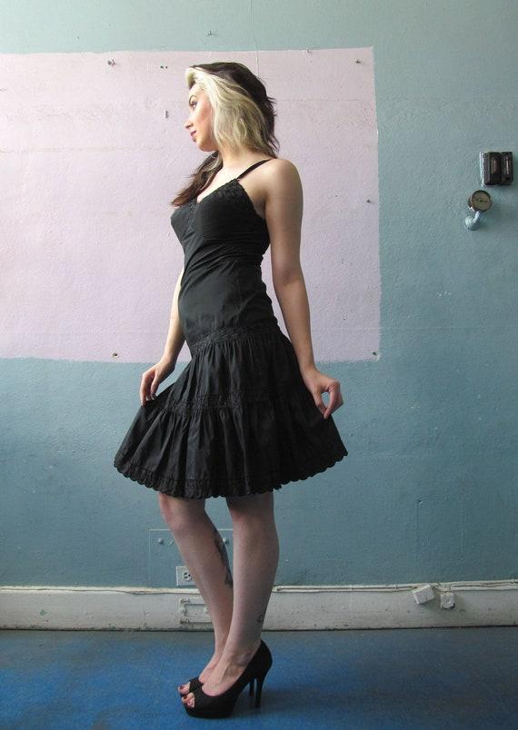 Vtg 50s 60s Black Full Slip Dress / Komar Lingerie