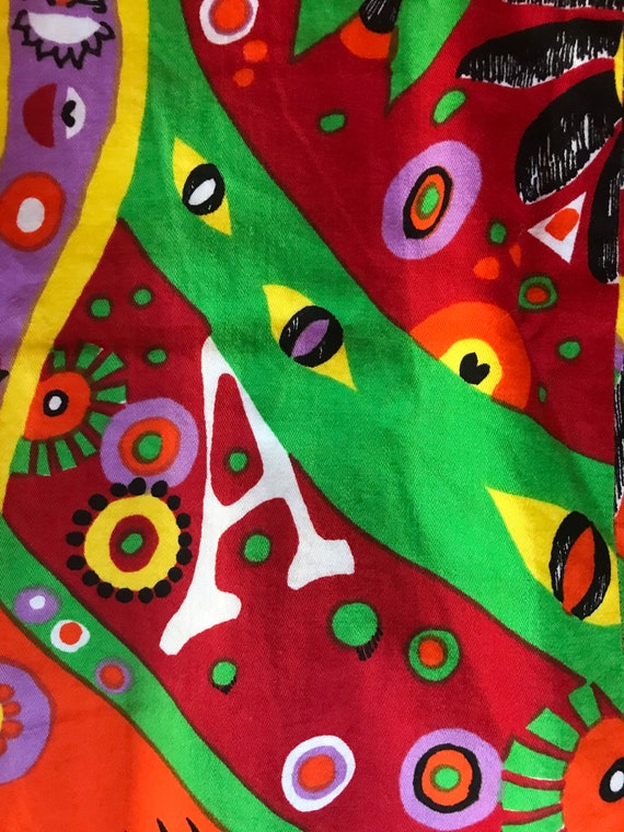 Vtg 60s Abstract Psychedelic Print Dress - image 6
