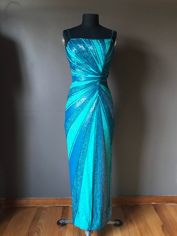 Vtg 90s Cache Beaded Cocktail Gown
