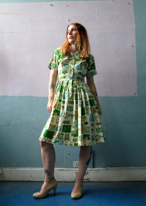 Vtg 40s 50s Shirtwaist Garden Novelty Print Dress
