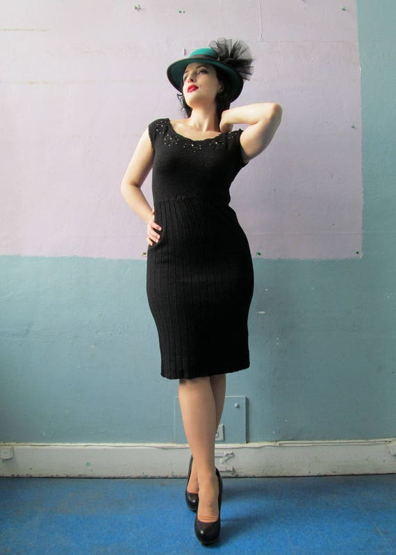 Vtg 40s 50s Knit Dress / Hourglass Bombshell / Cur