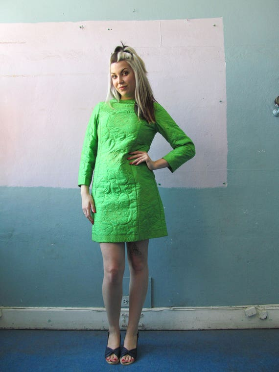 Vtg 60s Green Quilted Silk Dress / Mod Holiday Out