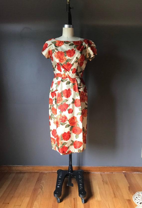 Vtg 50s 60s Floral Dress