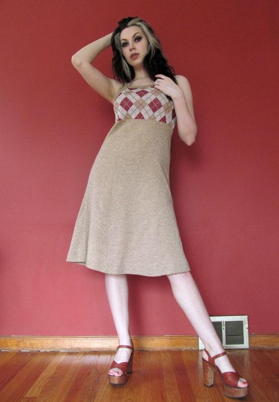 Vtg 70s Argyle Jumper Dress