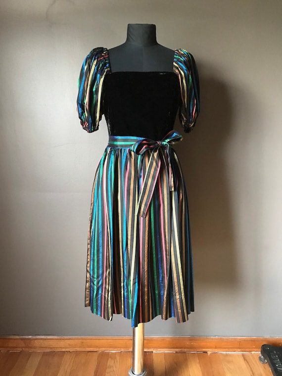 Vtg 70s 80s Dress / Multi Colored Stripes