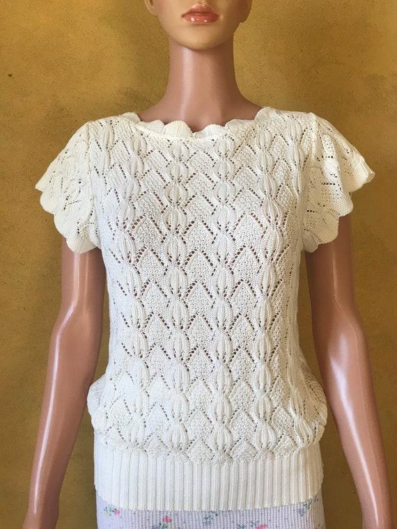Vtg 70s 80s Sweet Sweater Knit Blouse - image 8