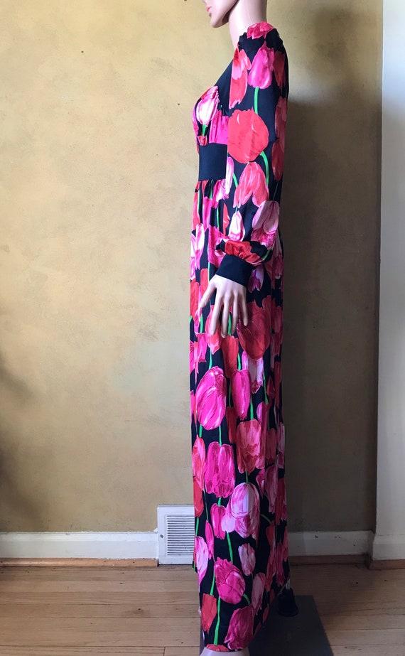 Vtg 60s 70s Tulip Print Dress - image 7