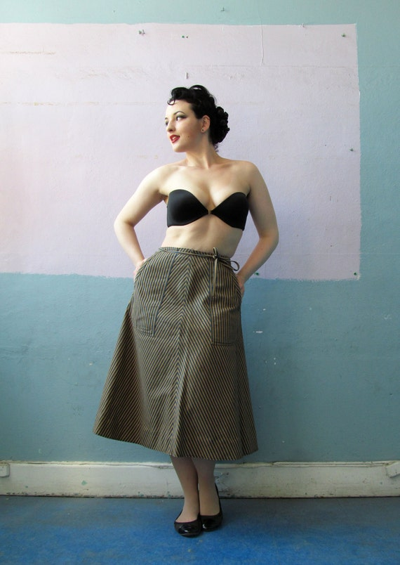 Vtg 50 60s Denim Wrap Skirt