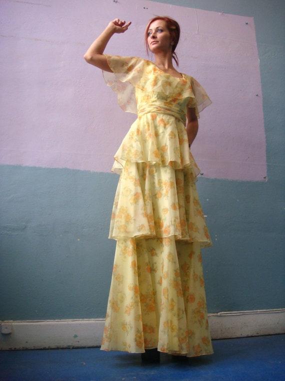 VTG 60s Sylvia Ann Tiered Ruffle Dress / Sheer Yel