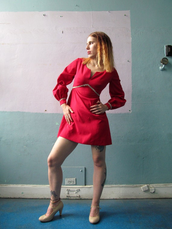 Vtg 60s 70s Hot Pink Mini Dress