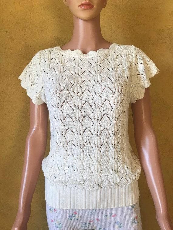 Vtg 70s 80s Sweet Sweater Knit Blouse - image 1