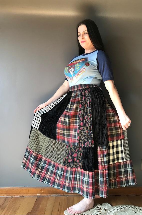 Vtg 80s 90s Maxi Patchwork Cotton Skirt