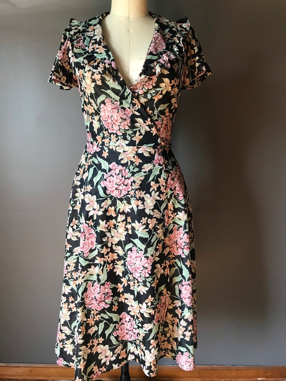 Indian vibrant floral wrap dress made in India size SM