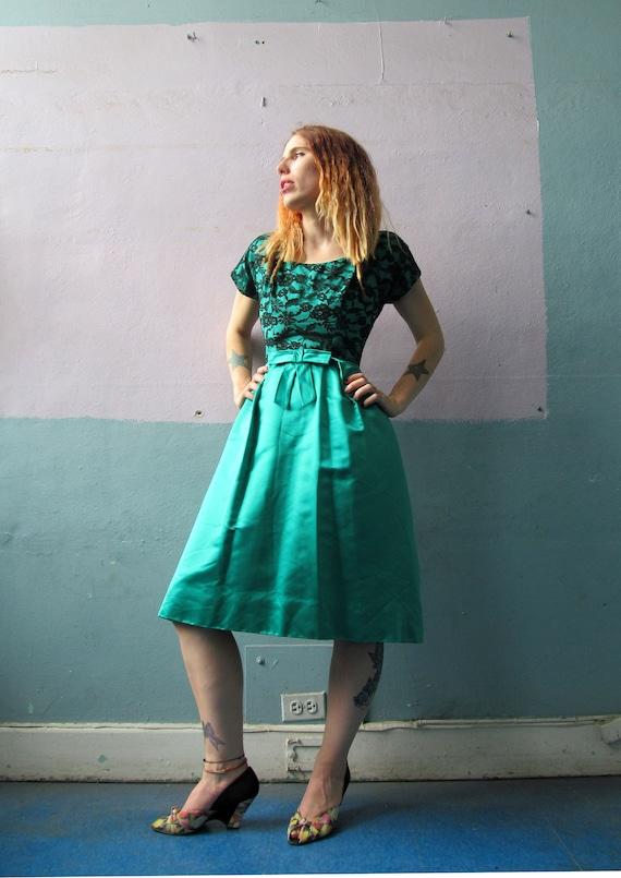 Vtg 50s 60s Green Party Dress