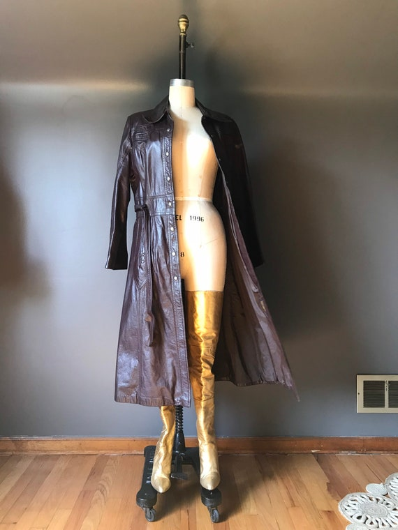 Vtg 70s Brown Leather Trench - image 2