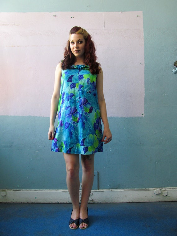 Vtg 60s Hawaiian Mini Dress