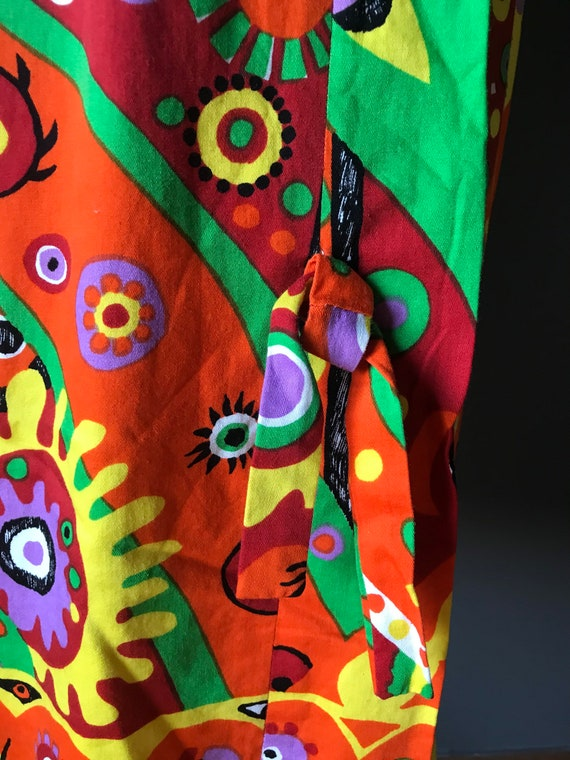 Vtg 60s Abstract Psychedelic Print Dress - image 4