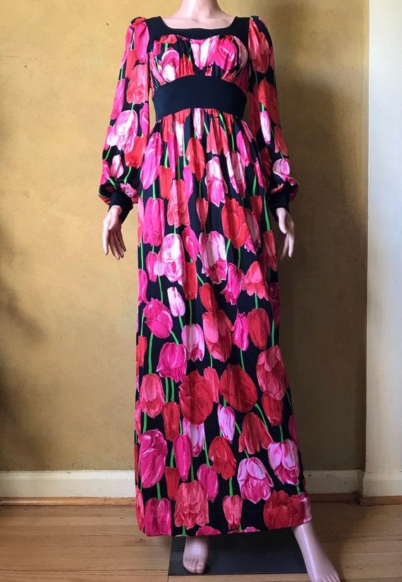 Vtg 60s 70s Tulip Print Dress - image 3