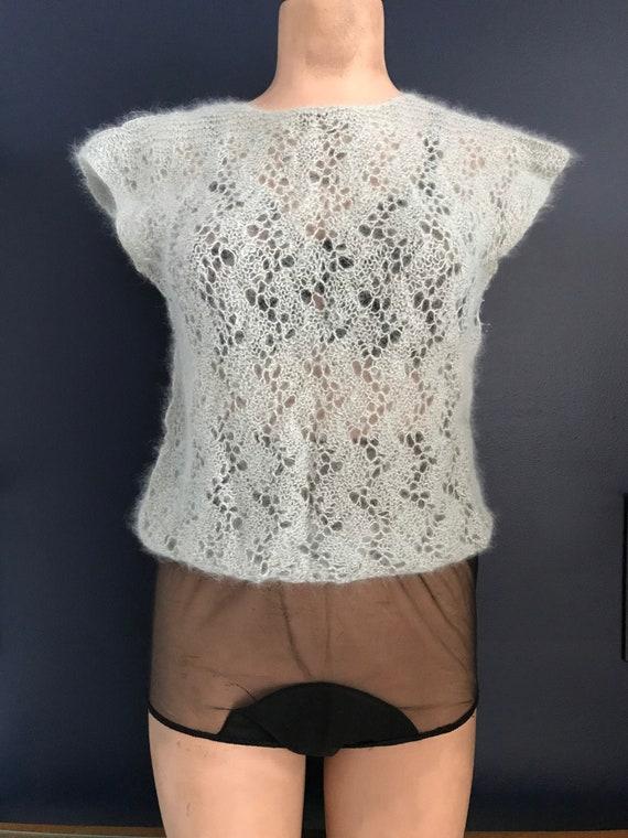 Vtg 70s 80s Romantic Knit Sweater