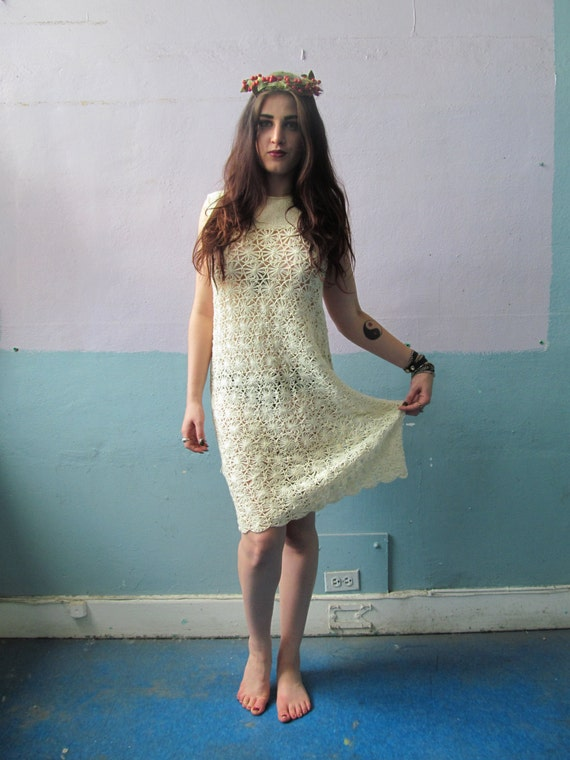Vintage 60s 70s Crochet Knit Dress / Flower Child