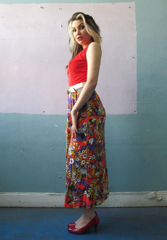 Vtg 60s 70s Psychedelic Zebra Print Maxi Dress - image 3