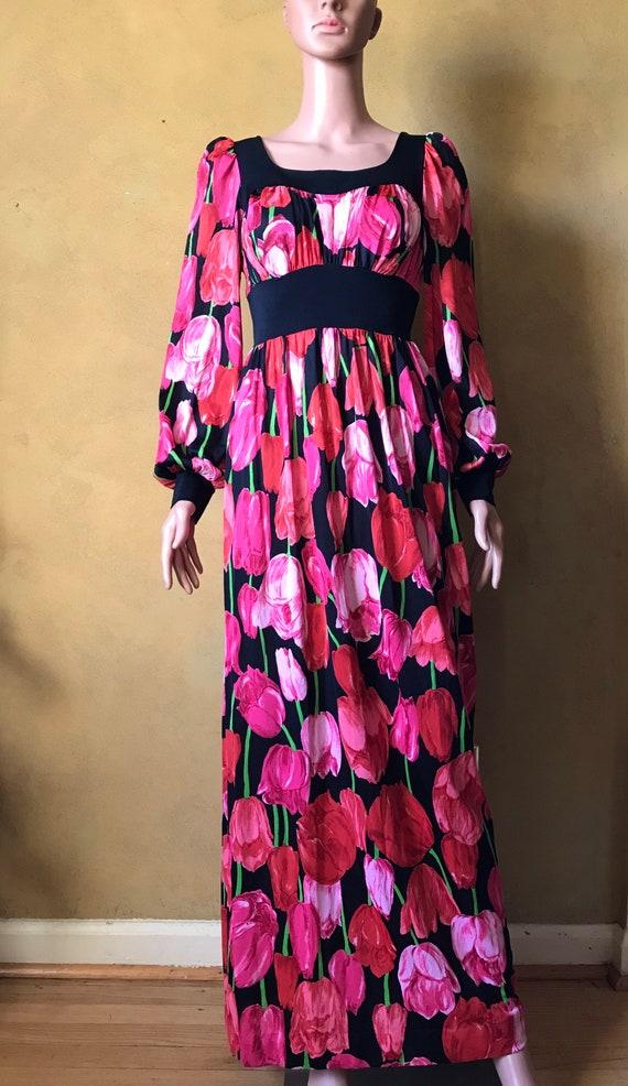 Vtg 60s 70s Tulip Print Dress - image 8