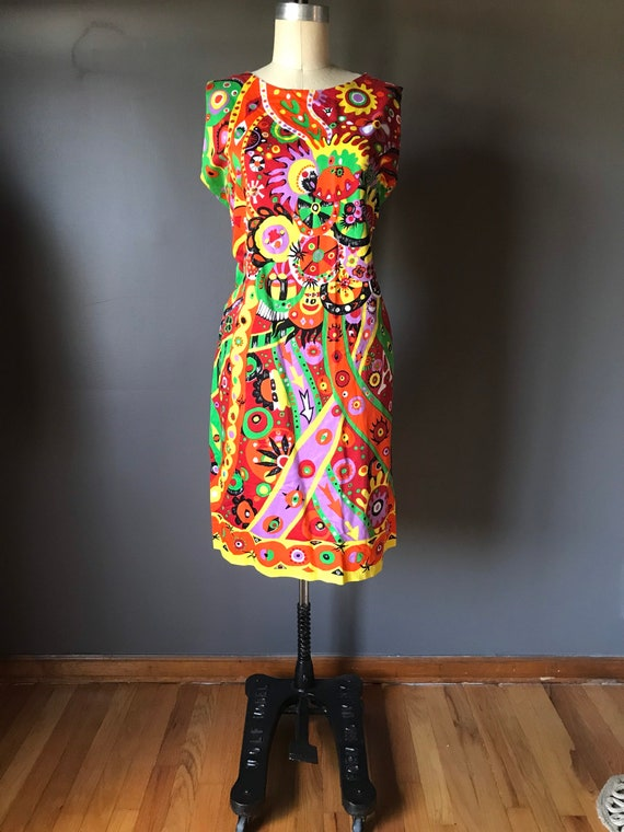 Vtg 60s Abstract Psychedelic Print Dress - image 7