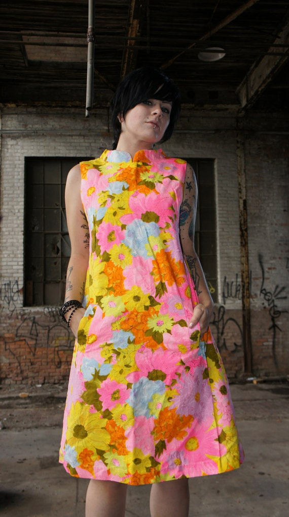 60s Vintage Couture Tropical Mod / Bombshell Wiggl