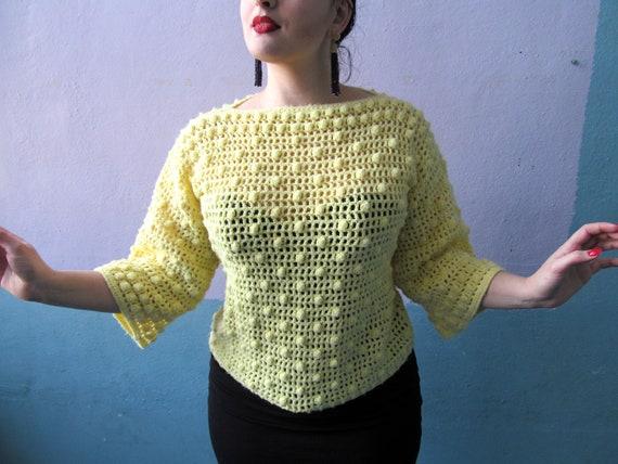 Vtg 70s Crochet Bobble Knit / Bell Sleeves / Yello