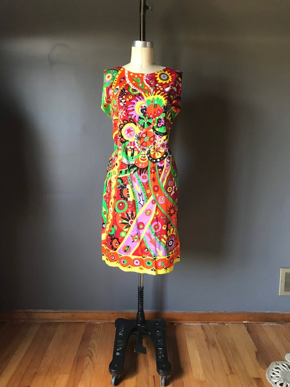 Vtg 60s Abstract Psychedelic Print Dress