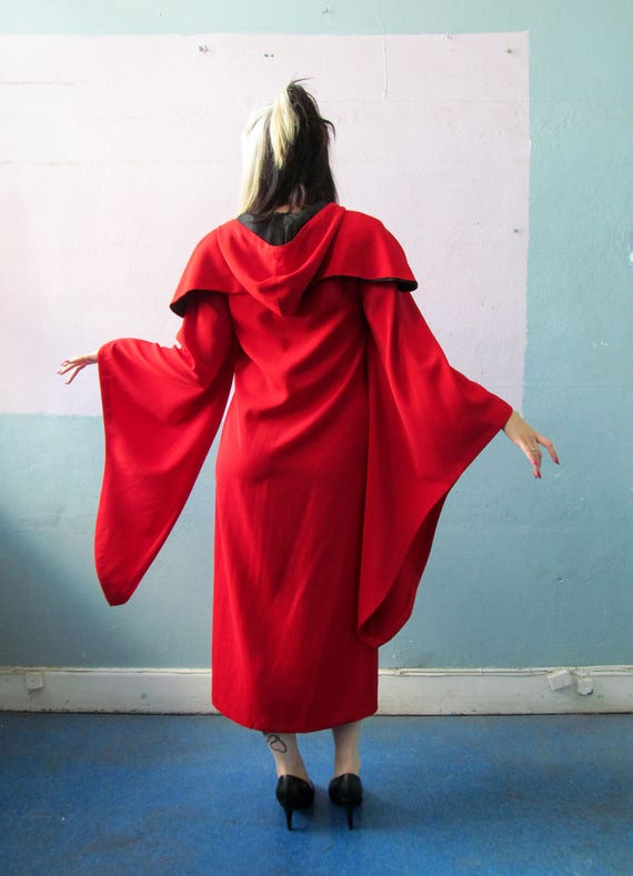 Vtg Red Costume Hooded Robe Dress