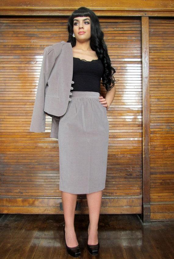 Vtg 70s Skirt Suit Set / Sexy Secretary / Career W
