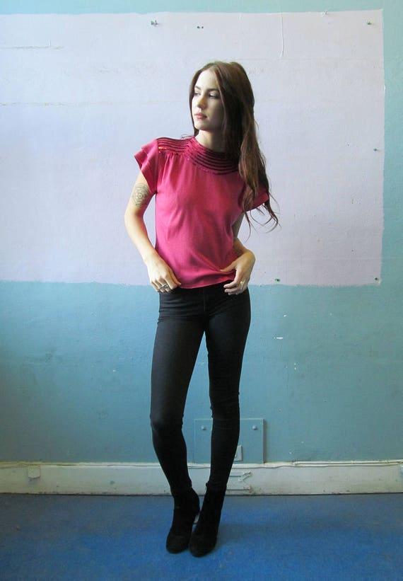 Vtg 70s 80s Pink Blouse / Disco Doll - image 1