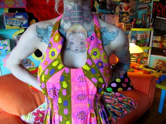 Vtg 60s Neon Psychedelic Halter Maxi Dress / Hawai