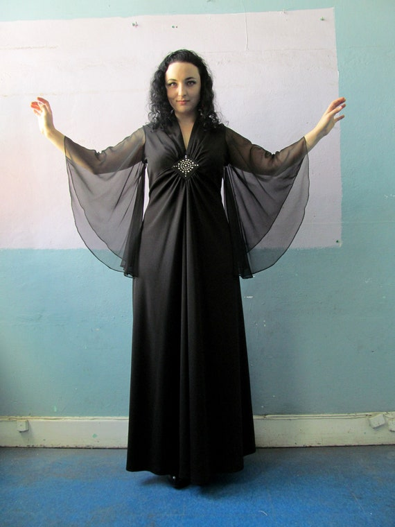 Vtg 70s Witchy Woman / Glam Dress