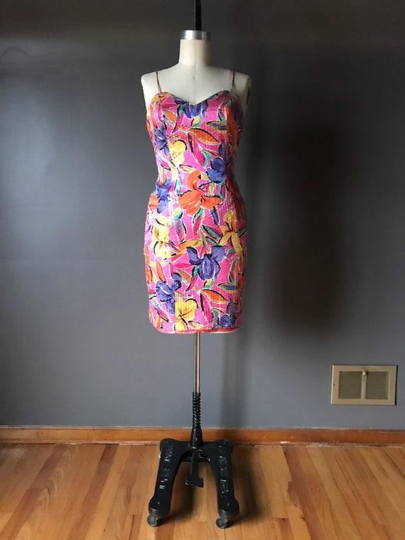 Vtg 80s 90s AJ Bari Floral Sequin Mini Dress