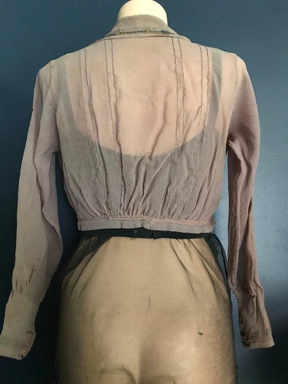 Antique Victorian Edwardian Sheer Blouse Top - image 6