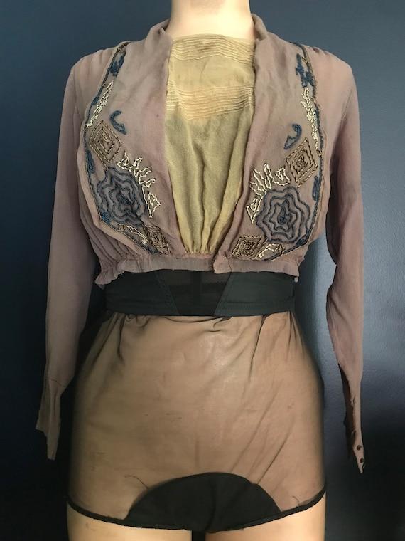 Antique Victorian Edwardian Sheer Blouse Top - image 1