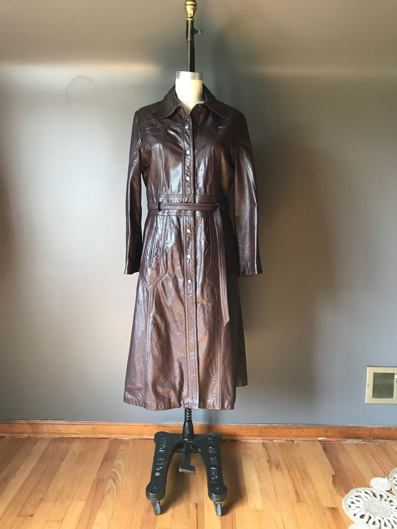 Vtg 70s Brown Leather Trench