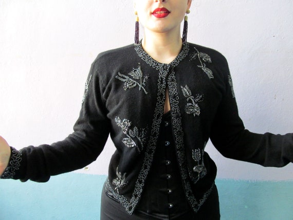 Vtg 50s Beaded Cardigan Sweater