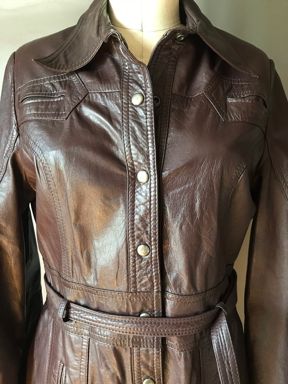 Vtg 70s Brown Leather Trench - image 8