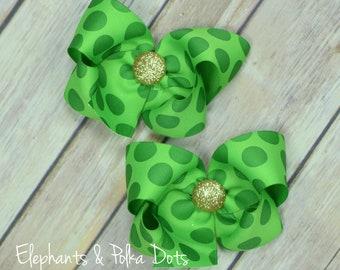 Saint Patrick's Day Pigtail Bows, Polka Dots Pigtail Bow set