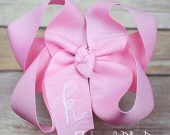 Pink Monogram Hair Bow